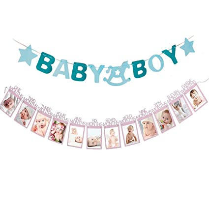 LQQDD Glittering 1 Months To 12 Photo Banner 1st Happy Birthday Decorations With Baby Boy