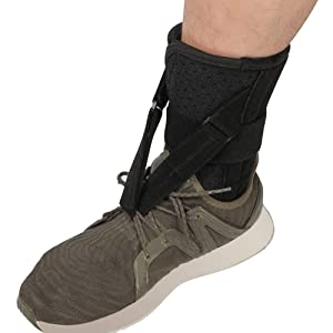 Foot Up Drop Foot Brace - Soft Adjustable AFO Straps Foot Drop Brace & Low Profile Orthosis Ankle Stability Support Pads for Shoes Walking, Fits Left or Right Foot for Women and Men, Black