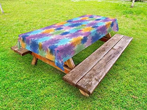 Lunarable Abstract Outdoor Tablecloth, Vibrant Floral Radiant Petals Spring Nature Beauty Girls Essence Fragrance Theme, Decorative Washable Picnic Table Cloth, 58 X 84 Inches, Multicolor