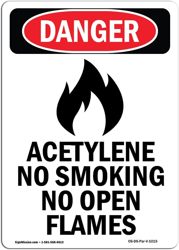 Amazon.com: Señal de peligro de OSHA – Acetileno sin fumar ...