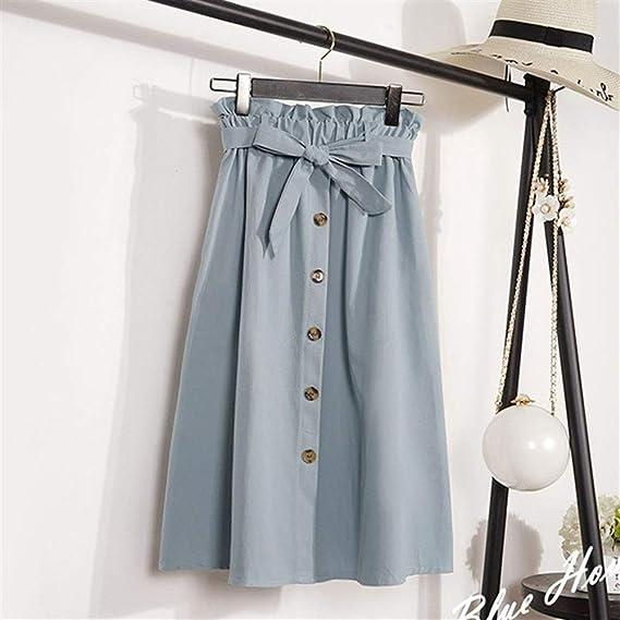 BIXIANGJI falda plisada de cintura alta con hebilla plisada para ...