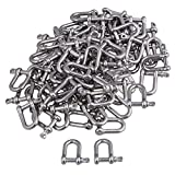 CNBTR M4 Silver 304 Stainless Steel European Style Chain D-Ring Shackle Hardware Rigging Set of 50