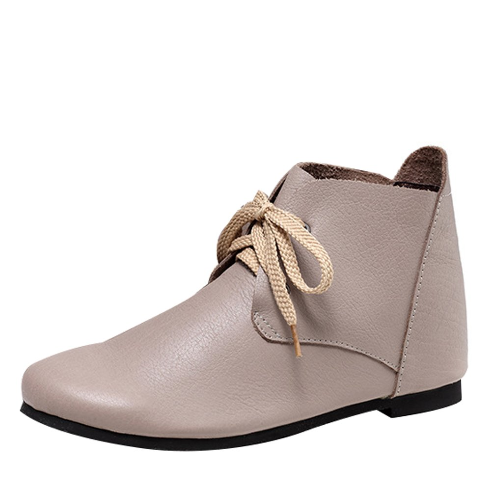 Mordenmiss Women's Leather Short Boots New Shoes Style 4-gray