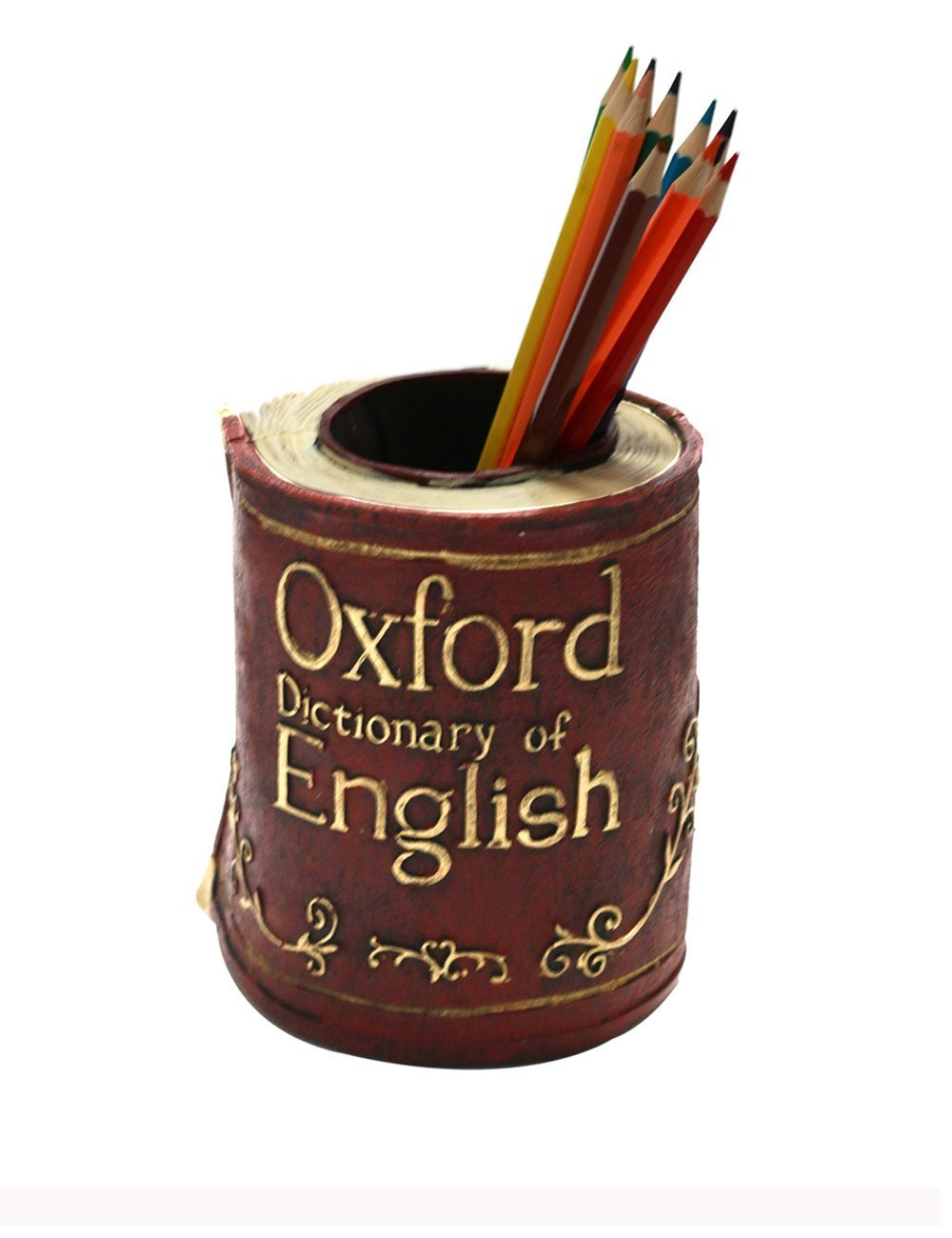 ZOSEN® retrò resina libri portapenne - ufficio matita titolare scrivania creativo decorazione (Rosso) OEC