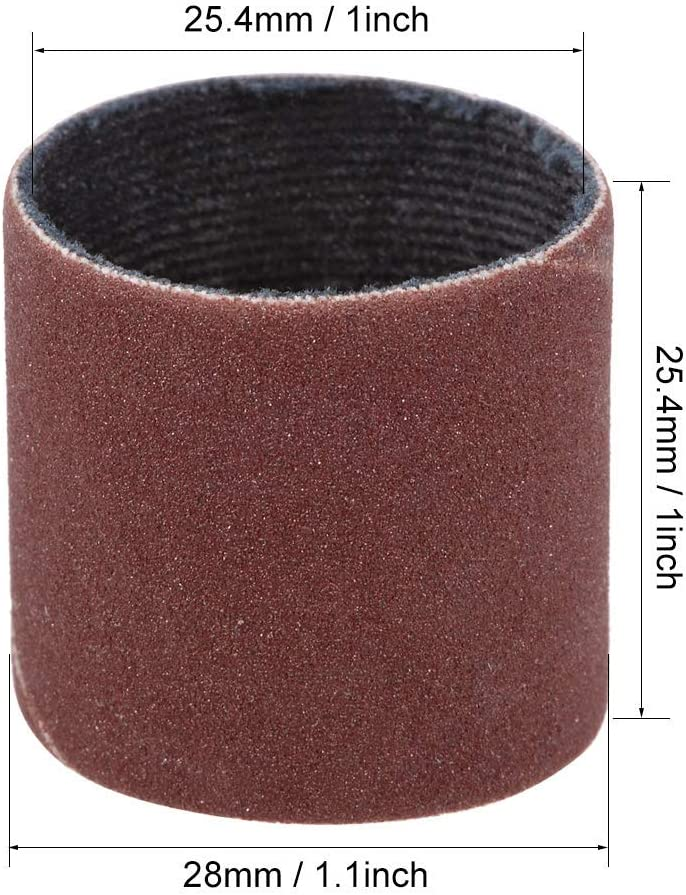 Sanding sleeves 1 inch x 1 inch 320 grains Sandpaper Drums band 5 pieces