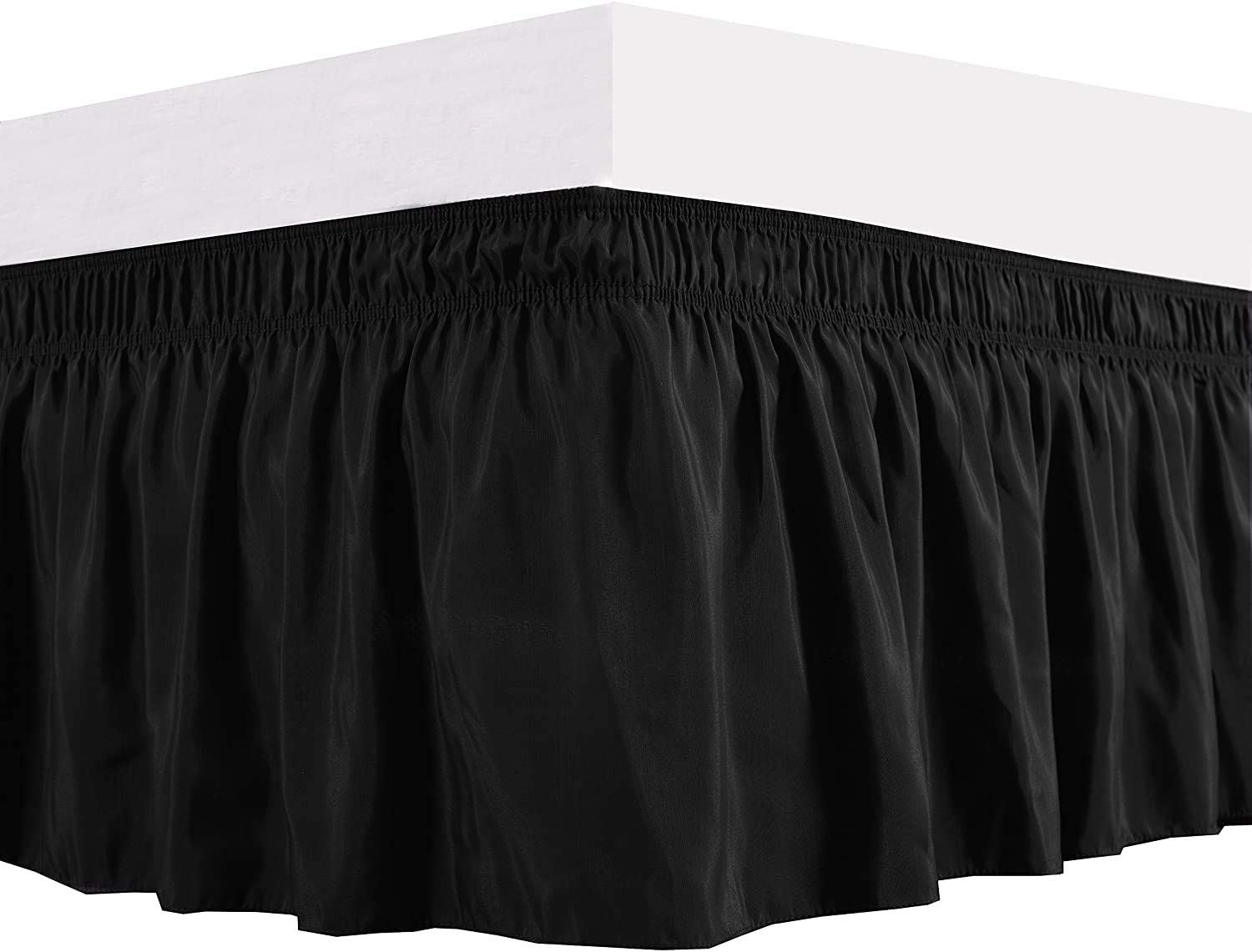 "Threads Collection 12"" Drop 600 Thread Count - Wrinkle & Fade Resistant - Egyptian Quality Three Fabric Sides Easy On/Easy Off Wrap Around Elastic Bed Skirt Queen - Black"