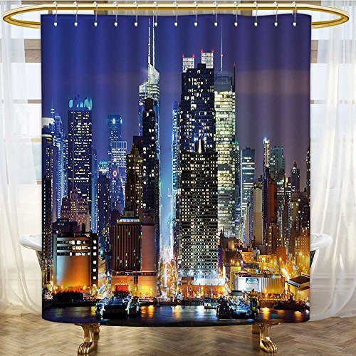 Hudson Dictionary (Mikihome Shower Curtains Fabric Extra Long Manhattan View from Hudson River at Night Luminous Blue Violet Blue Apricot Bathroom Accessories W72 x H84 inch)