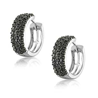fb52255a9 Image Unavailable. Image not available for. Color: Black Pave CZ Wide Huggie  Hoop Kpop Earrings For Women For Men Cubic Zirconia ...