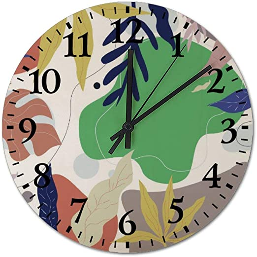Amazon Com Tattyakoushi Fashion Wooden Wall Clocks Home Decor Design Plant Colorful Silent Non Ticking Rustic Country For Living Room Bedroom Kitchen Round 3030cm Home Kitchen