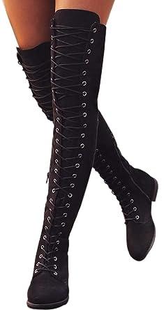 b74c8f9008e Faionny Women High Boots Cross-Tied Platform Shoes Over Knee Boots Flat  Heel Boots Long Snowshoes