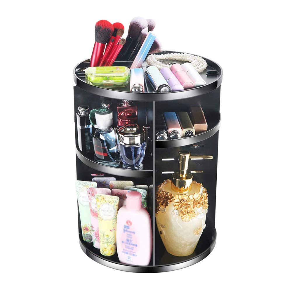 LTOOTA 360 Degree Rotating Makeup Organizer, Adjustable Multi-Function Cosmetic Storage Box Large Capacity, Fits Different Types Cosmetics Accessories,Black