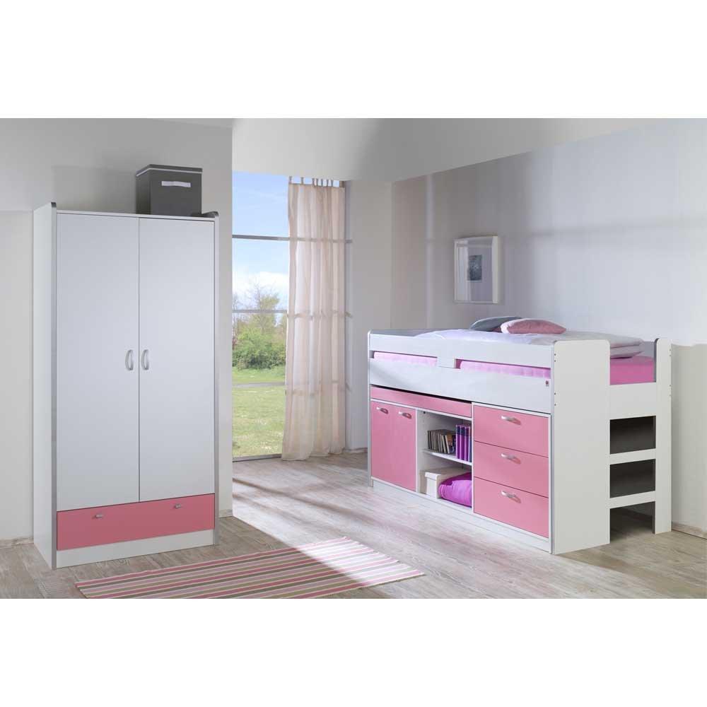 Mädchenzimmer Möbel Set in Rosa Weiß Hochbett (2-teilig) Pharao24 ... | {Mädchenzimmer möbel 46}