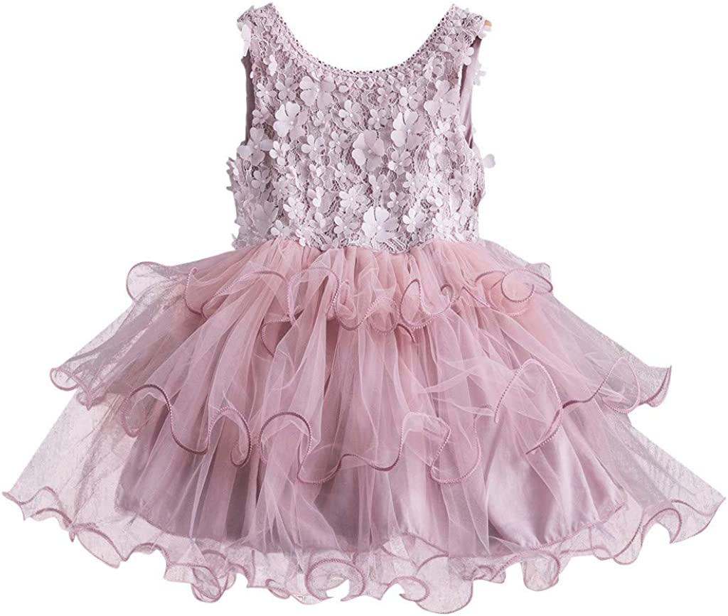 Toddler Kids Baby Girls Floral Ruched Tulle Patchwork Princess Dresses Skirt Outfit Set 2-7 Years Old