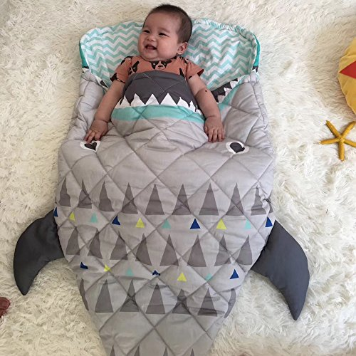 "PISSCO Kids 100% Cotton Shark Blanket, Soft and Warm Sleeping Bag for Boys and Girls, 59""X27"" by PISSCO (Image #1)"
