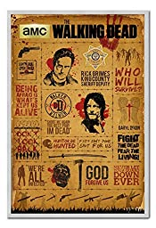 The Walking Dead Infographic Poster Magnetic Notice Board Silver Framed - 96.5 x 66 cms (Approx 38 x 26 inches)
