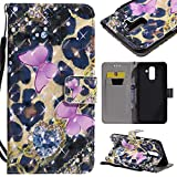 For Samsung Galaxy A6 Plus 2018 A6+ Case with Card Slot,OYIME [Pink Butterfly] 3D Glitter Pattern Design Bookstyle Leather Wallet Holster Kickstand Function Full Body Protective Bumper Magnetic Closure Flip Cover with Wrist Lanyard and Screen Protector