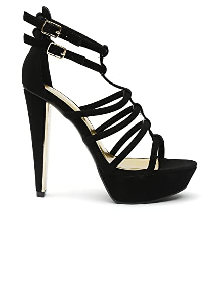 e5937ac04ad Qupid Women Black Strappy Platforms (8.5US)  Buy Online at Low ...