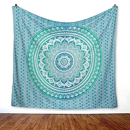 ''New Launched'' ''CHAKRA'' Tapestry (RKP4) Bohemian Hippy Life Relaxing Meditation Mandala With Famous Chakra Print For Peace Happiness And Healing, Color- Green by INDAURA