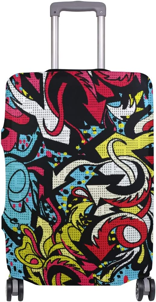 FOLPPLY Abstract Graffiti Painting Luggage Cover Baggage Suitcase Travel Protector Fit for 18-32 Inch
