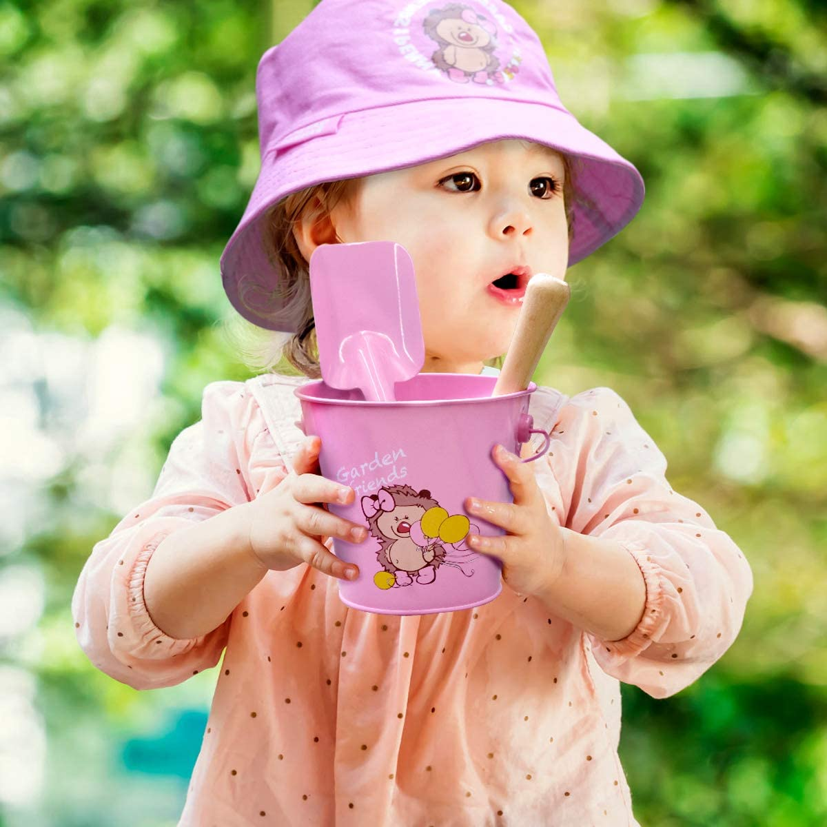 Gardening Tools for Kids Gardening Gloves and Tote Bag Jardineer Kids Gardening Set Metal Pink