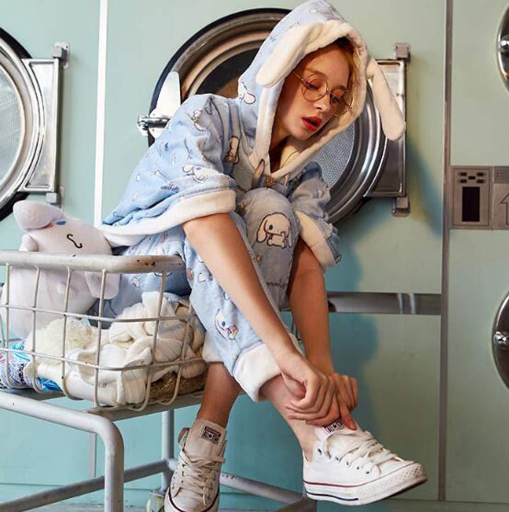 OLLIUGE Calidad Ropa De Dormir Batas Mujer Señoras Invierno Conjunto De Pijamas Camisones Ropa De Noche Dibujos Animados con Capucha Azul Capa Vellón De ...