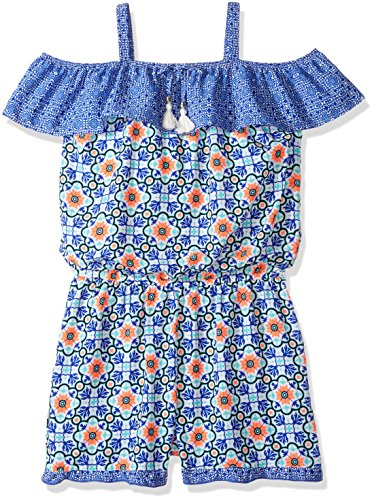 My Michelle Girls' Big Printed Cold Shoulder Romper with Ruffle Details, Cobalt, XL (My Clothes Michelle)