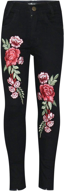 A2Z 4 Kids/® Kinder M/ädchen D/ünn Jeans Designer Rosen Gestickt Denim Dehnbar Hosen Mode Passen Hose Alter 3 4 5 6 7 8 9 10 11 12 Jahre
