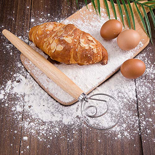 Premium Admixer and Blender for Pastry or Pizza Dutch Style Kitchen Grade Hand Making Bread Flour Mixer Baking Tool Stainless Steel Danish Dough Whisk Mixer with Wooden Handle