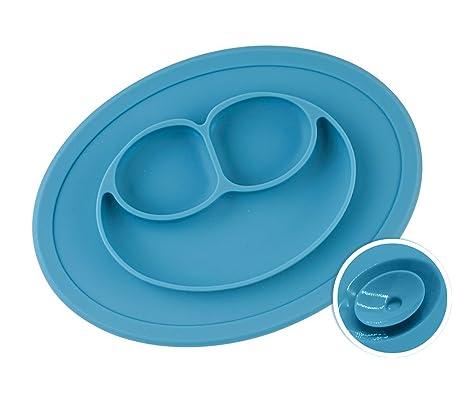 Chuckle Mantel con Plato Incorporado de Silicón Silicona para Niños y Bebés – Bandeja Mantelito Individual de Succión Infantil para Alimentos. ...