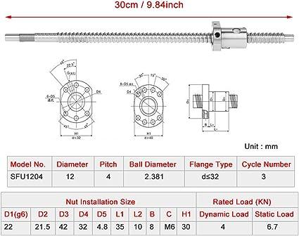 Kugelrollspindel 300mm,Kugelumlaufspindel 300mm Kugelumlaufspindel Spielfrei ohne seitliche Endst/ützen Schraubensteigung 4mm,Schraubendurchmesser 12 mm,300mm Kugelumlaufspindel