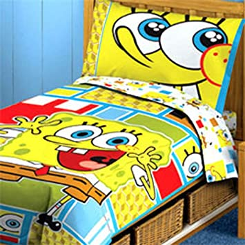 Spongebob Squarepants Toddler Bedding Set   4pc Comforter Bed Set