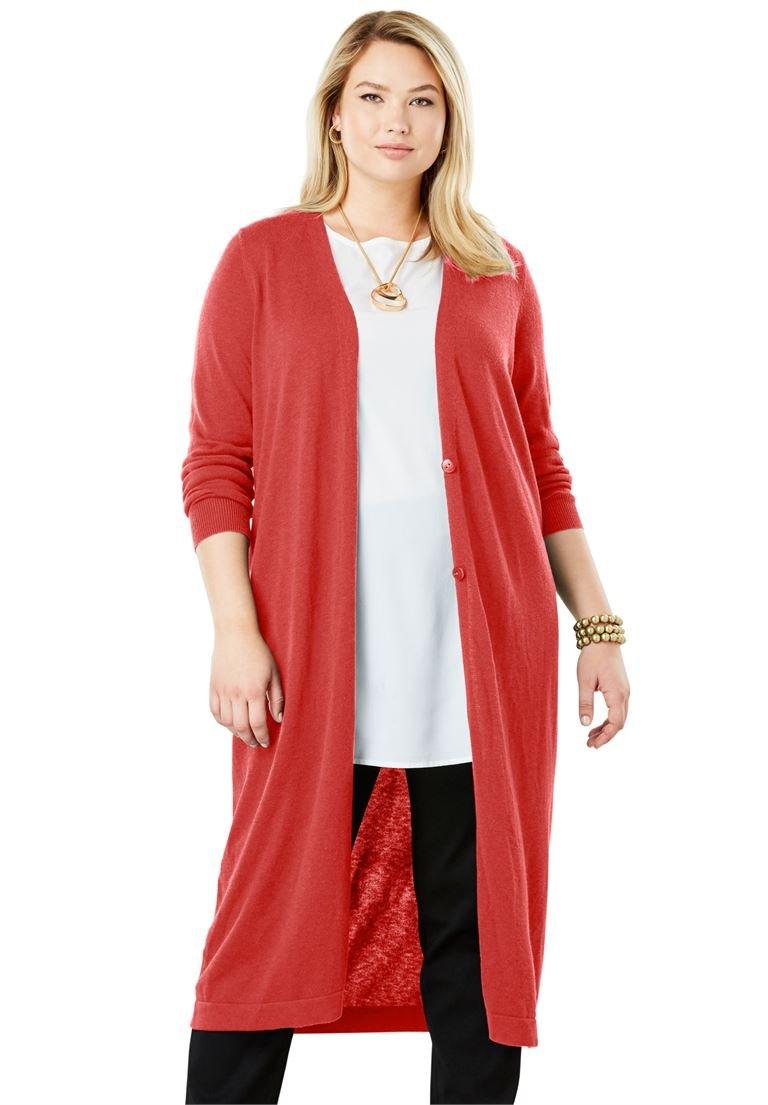Jessica London Women's Plus Size Fine Gauge Duster Sweater Burnt Red,26/28