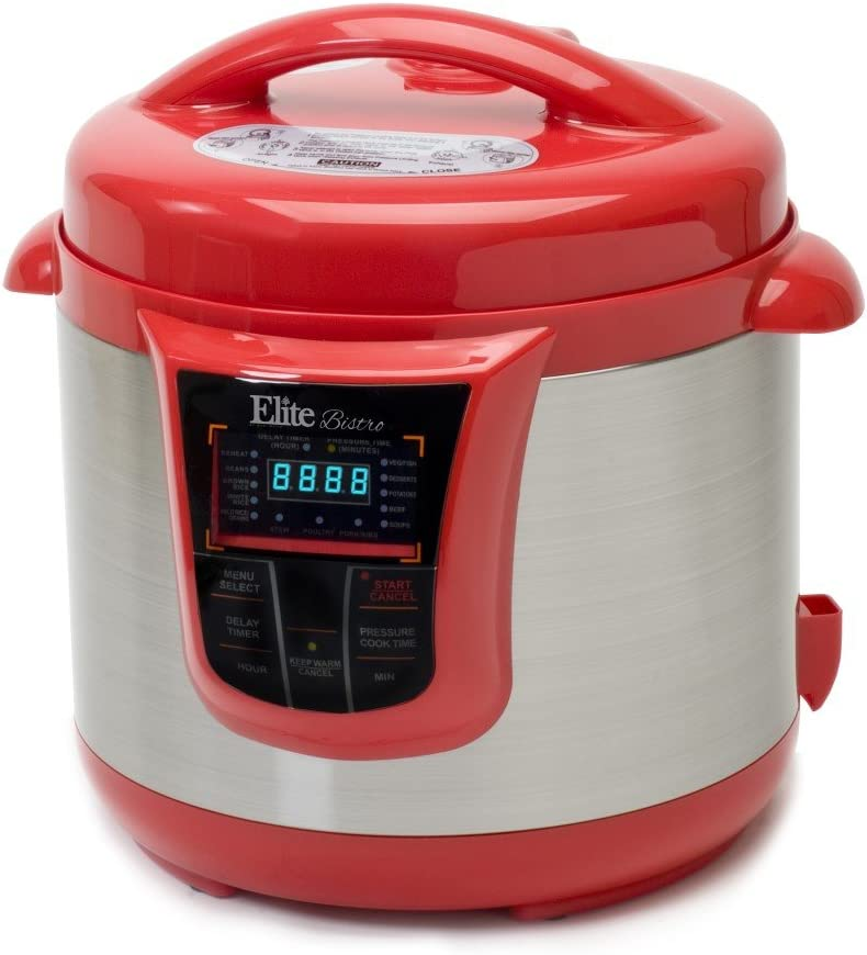 Bistro 8-Quart Electric Stainless Steel Pressure Cooker, Electric Pressure Cooker (Red)