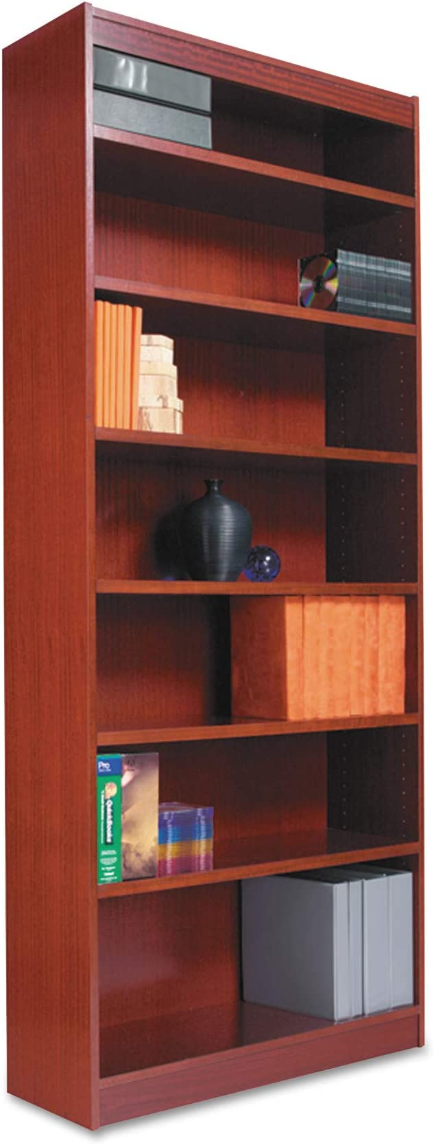 Alera Square Corner Wood Bookcase Six Shelf 35 5 8 X 11 3 4 X 72 Inch Medium Cherry Furniture Decor Amazon Com