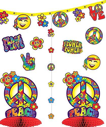 Party Decoration Cut Out Shapes Table Centrepiece Flower Power Hippie Decor -