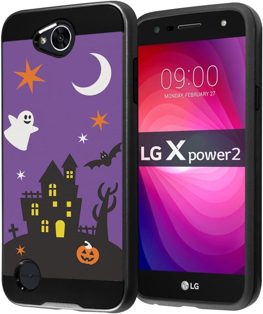 for LG X Power 2 Case, LG Fiesta LTE Case, LG X Charge Case, LG K10 Power Case, LG LV7 Case, Capsule-Case Hybrid Fusion Dual Layer Slick Armor Case (Black) - (Halloween)