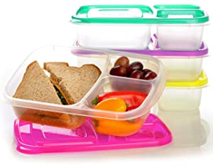 EasyLunchboxes 3-compartment Bento Lunch Box Containers Brights (Set of 4). BPA-free. Easy-open Lids (Not Leakproof). For Kids and Adults. Work or School Lunches