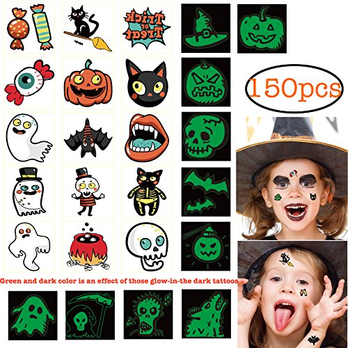 150pcs Assorted Halloween Tattoos, 26 Designs including Glow