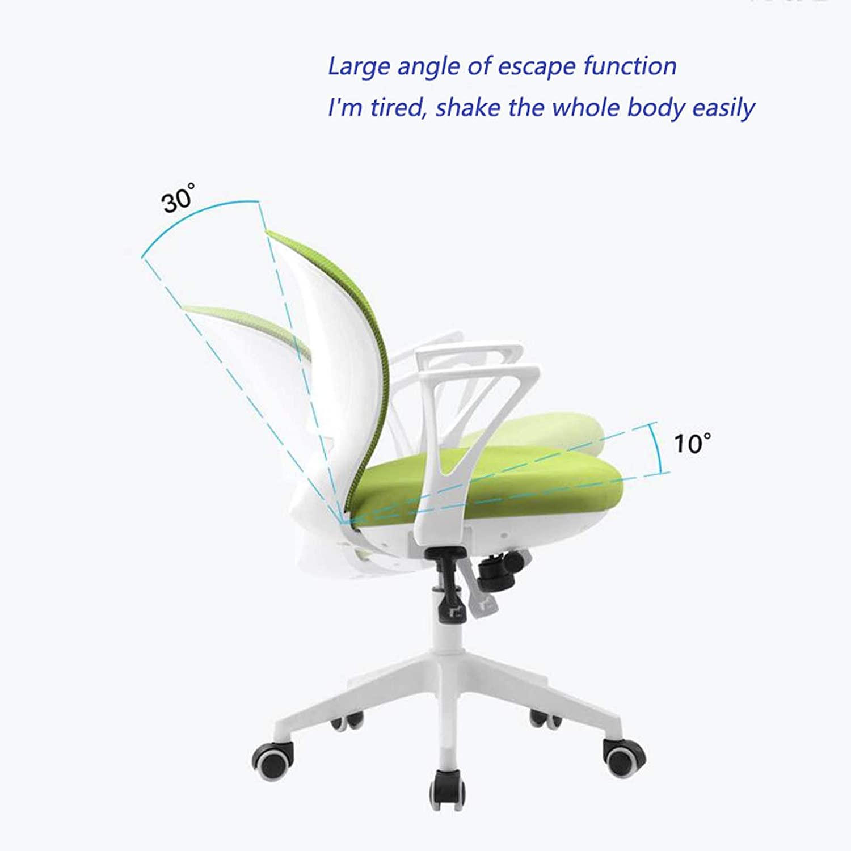 Yd&h kontor flodhäst nät kontorsstol med justerbara armar, datorstol för hemarbete, svängbar stol med hjul, svart, D c