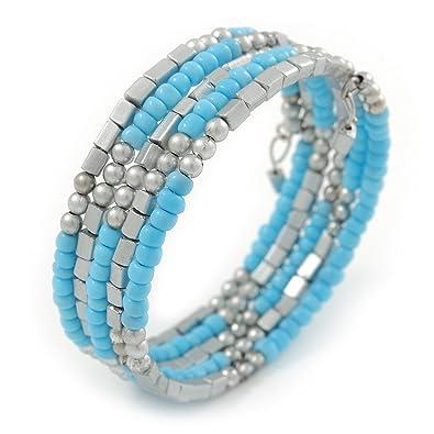 Avalaya Red Acrylic Bead Coiled Flex Bracelet - Adjustable auvfd04vV