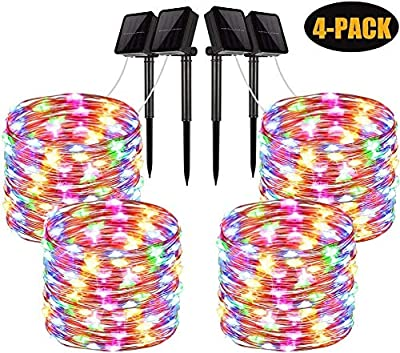 Solar String Lights, 4 Pack 100 LED Solar Fairy Lights 33 Feet 8 Modes Copper Wire Lights Waterproof Outdoor String Lights for Garden Patio Gate Bedroom