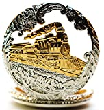 New Brand Mall Mens Delicate Vintage Steam Hollowed Lid Design for Quartz Pocket Watch With Chain(Train)