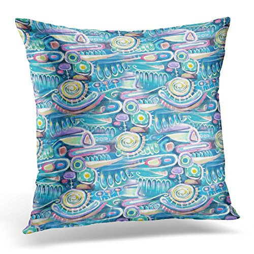 Sdamase Throw Pillow Cover Abstract Acrylic Canvas Bouquet Flowers Sea Blooming Peas Turquoise Color Composition Aztec Maya Incas Decorative Pillow Case Home Decor Square 18