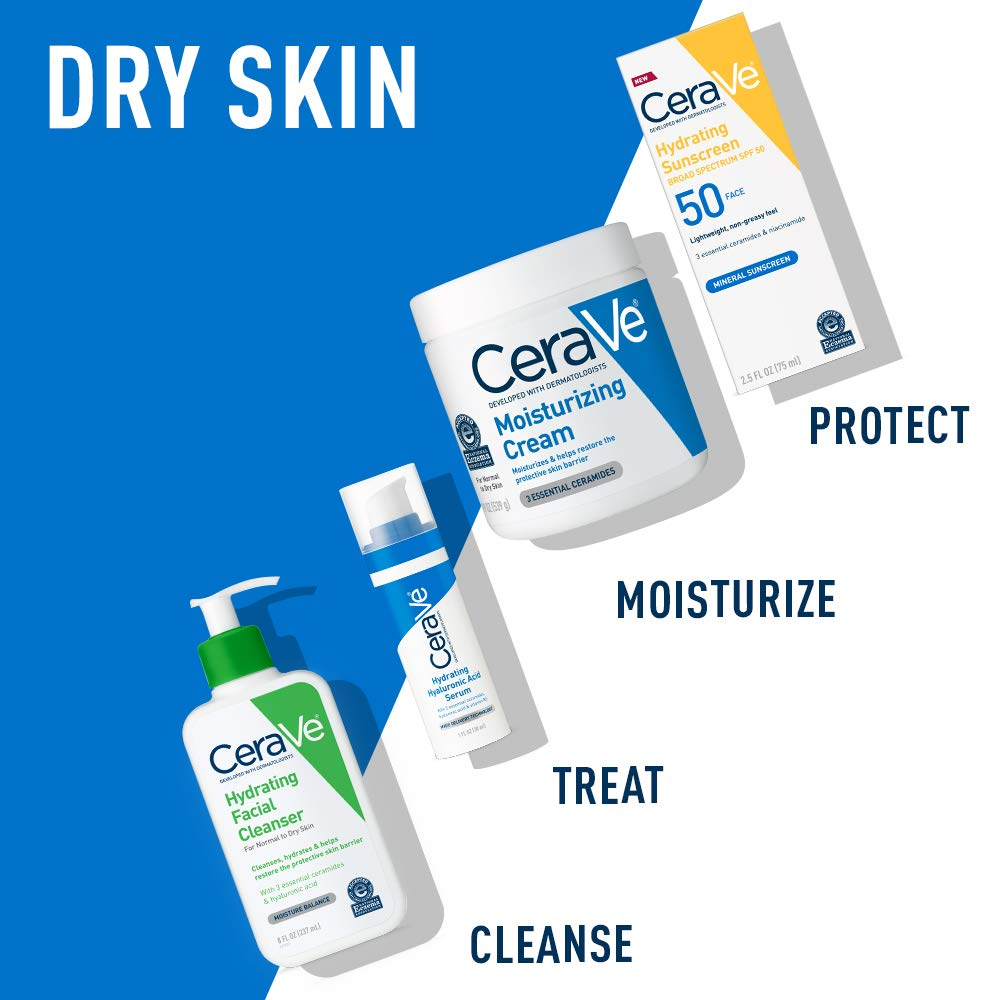 CeraVe Hydrating Facial Cleanser | Moisturizing Non-Foaming Face Wash with Hyaluronic Acid, Ceramides & Glycerin | 16 Fluid Ounce: Beauty