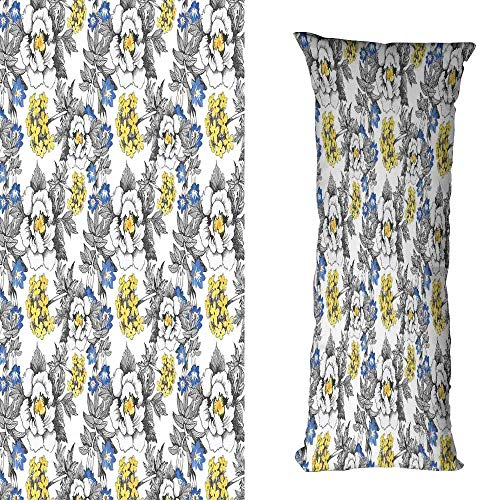 Creative Pillowcase Garden Romantic Peony Hydrangea and Blue Violet Blossoms in Sketch Art Style Soft and Durable W16 xL23.5 Dark Grey Yellow and - Peony Nikkis