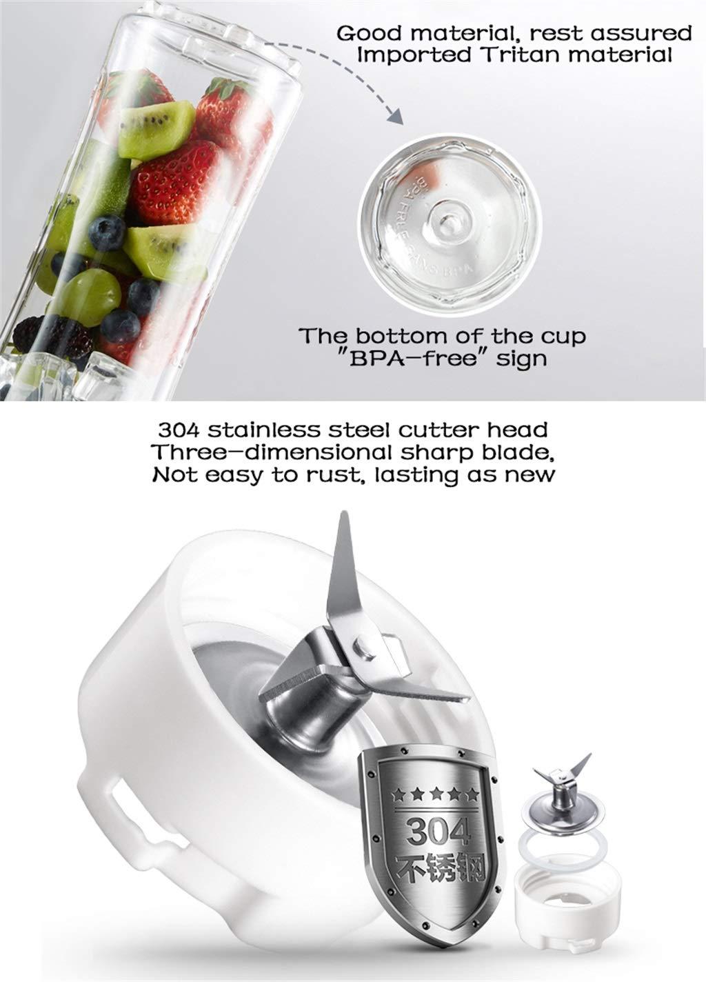 Kitchen Appliances Juicer portátil, Taza de Jugo Fresca Multiuso del hogar, Mini Taza de Jugo eléctrica, Taza portátil del Jugo 600ml + 400ml (Color ...