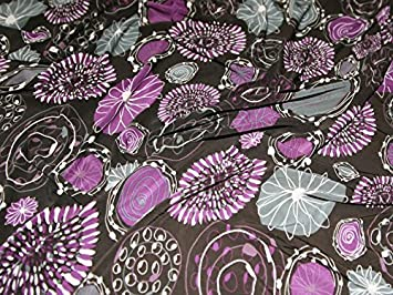 Violet Et Gris Polyester Et Lycra Robe Jersey Motif Tissu Au