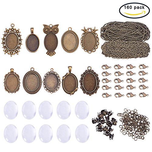 SUNNYCLUE 10 Sets Assorted Cabochon Frame Setting Tray Charms Pendant with Clear Oval Glass Dome Tile for Photo DIY Craft Jewelry Necklace Making, Antique Bronze