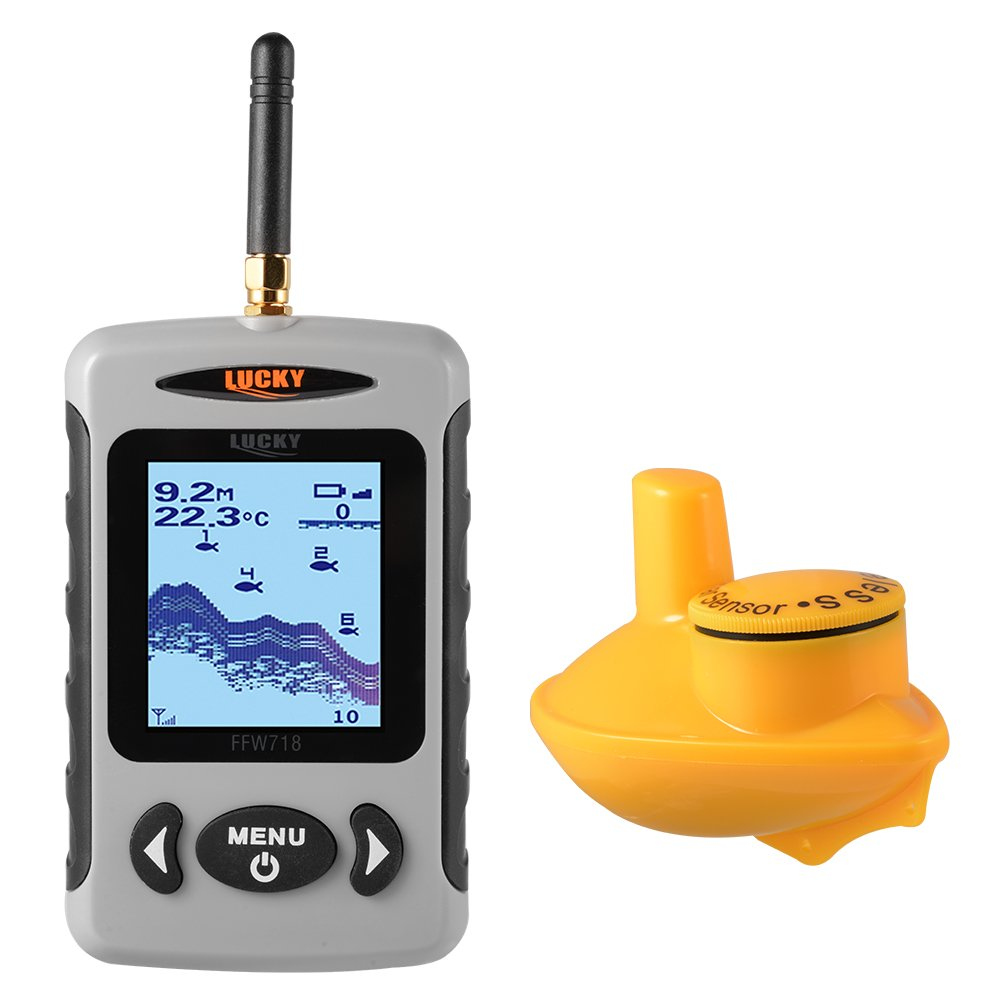 XCSOURCE Portable Fish Finder 120m Alarm Wireless Sonar 45m/135ft Depth Sensor Dot Matrix LCD Fishfinder w/ Backlight OS904