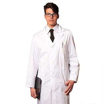 Bata para médico de algodón sanforizado 100%, color blanco, de hombre – Fabricado